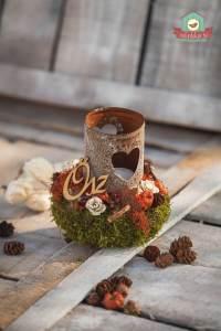 Romantikus mécsestartós asztaldísz őszi termésekkel