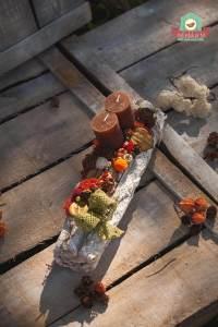Gyertyás őszi asztaldísz