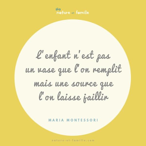 Maria Montessori Enfant nest pas une vase que on remplit