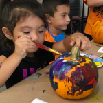 How kids can paint pumpkins for halloween