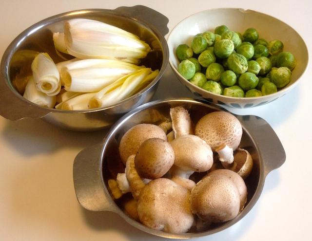 Récolte hivernale : endives, champignons et choux de Bruxelles