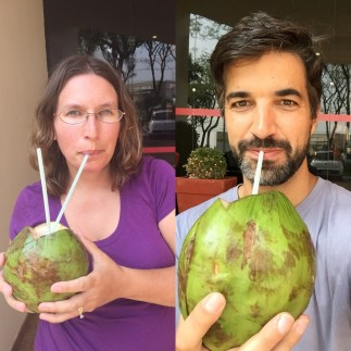 Sabrina & Anthony trying coconut water straight from the source