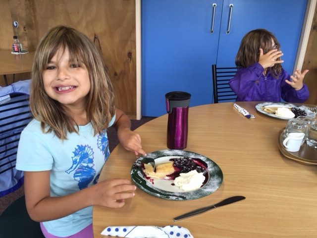 Hannah thoroughly enjoyed the blueberry crepes at Mamaku Blue. Anthony & I tried a venison & blueberry pie.