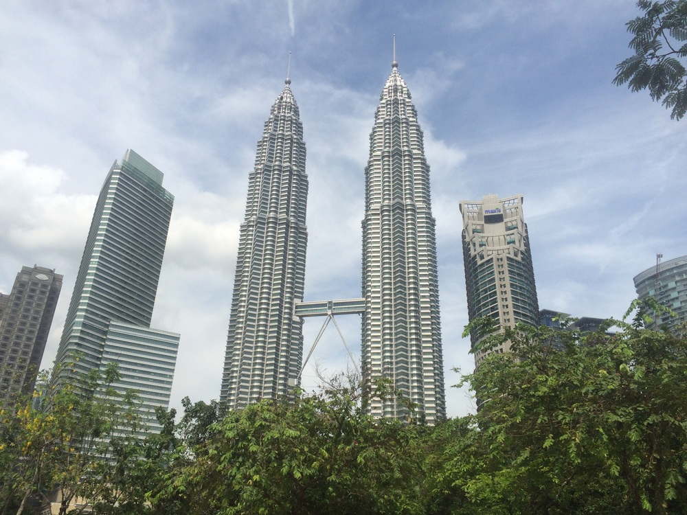 Petronas twin towers with sky bridge. We went up to to 88th floor. Locals told us after that the KL Sky Tower is better.