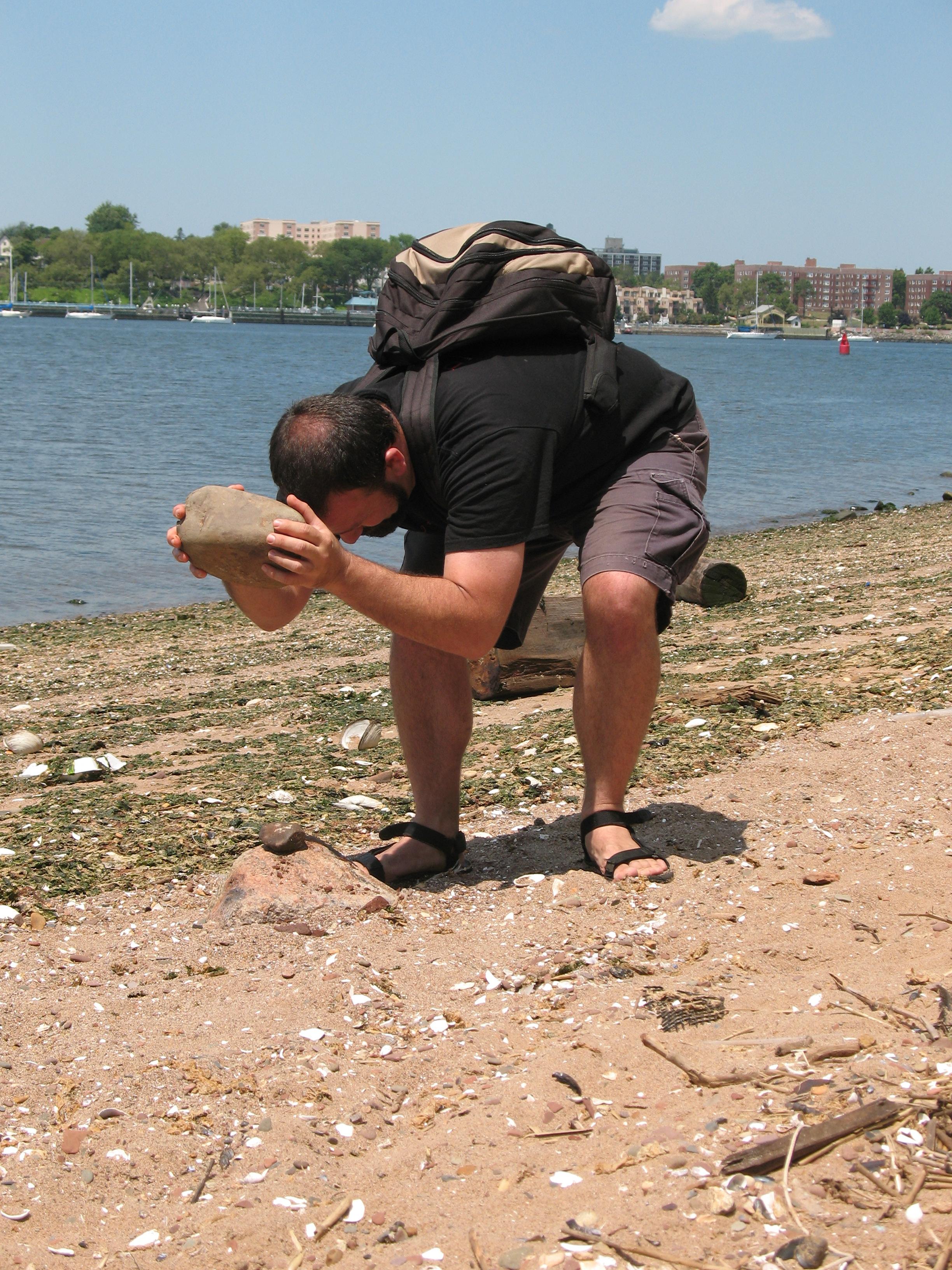 breaking rocks in the hot sun. Photo by Jill Palermo.