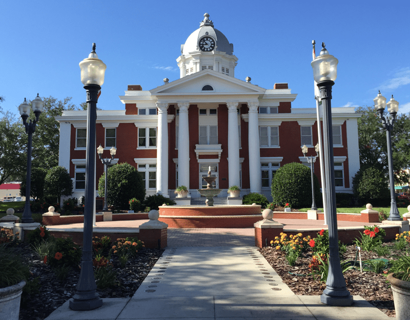 The 1909 historic Pasco County courthouse is a Dade City icon and is registered on the the U.S. National Register of Historic Places.