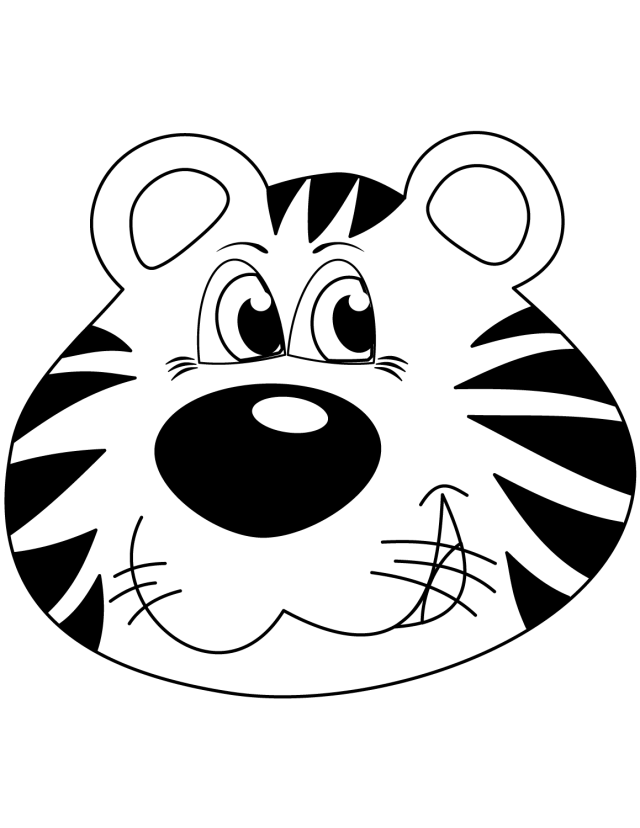Printable Cartoon Tiger Face coloring page for both aldults and kids.