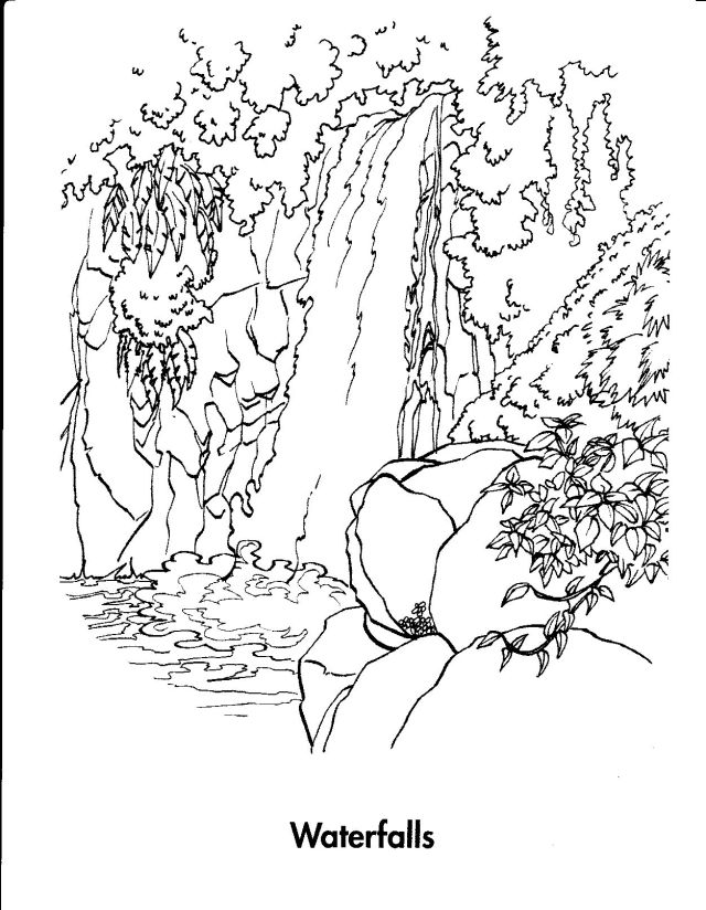Printable Beautiful Waterfall coloring page for both aldults and kids.