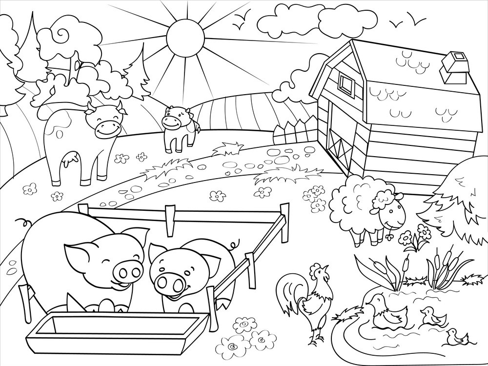 Printable Rural Landscape Coloring Page For Both Aldults And Kids