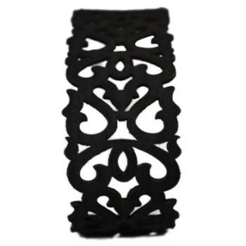 Bracelet cuir noir motif baroque