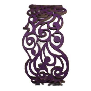 Bracelet cuir mauve motif vagues