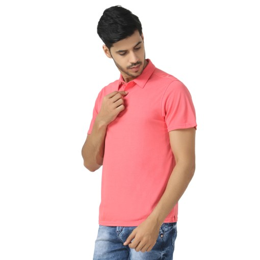 Bamboo clothing Sustainable pink Polo T shirt 5