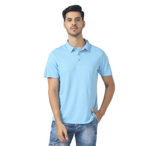 Naturefab Bamboo clothing Sustainable powder blue Polo T shirt 4