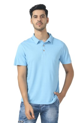 Naturefab Bamboo clothing Sustainable powder blue Polo T shirt 4