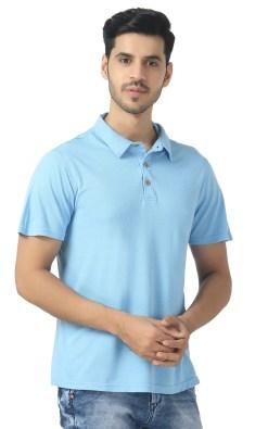Naturefab Bamboo clothing Sustainable powder blue Polo T shirt 6