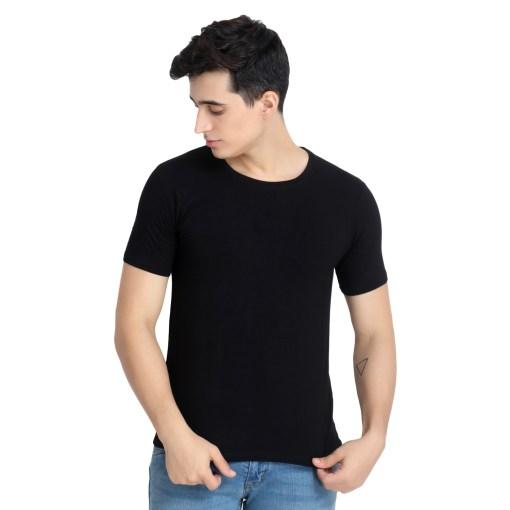 Naturefab Mens Bamboo Clothing T Shirt Black Roundneck 4