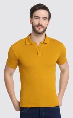 Naturefab Mens Sustainable Bamboo Fibre Polo Tshirt Mustard Grey 1