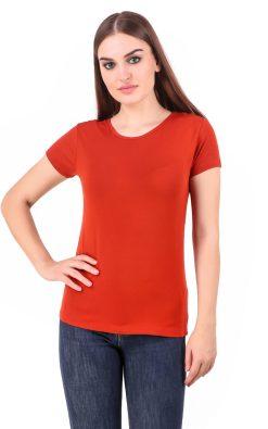Naturefab Womens Sustainable Bamboo Clothing T Shirt Red 2