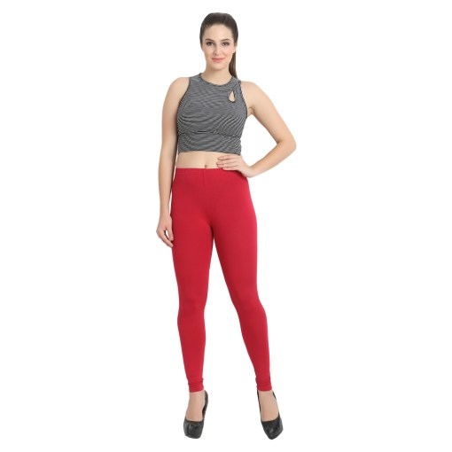 Naturefab Womens Sustainable Bamboo Fashion Leggings Red Maroon 5