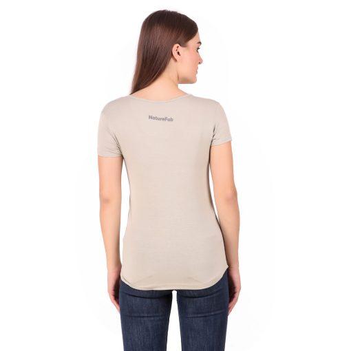 Naturefab Womens Sustainable Bamboo Fashion T Shirt Musk Grey 4