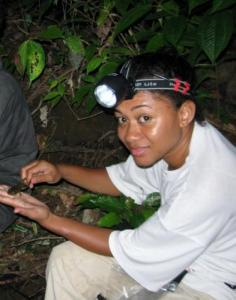 Nunia Thomas conducting herpetofauna surveys in the Nakauvadra range, Ra province where she discovered Viti Levu's only known surviving population of Fiji ground frogs.
