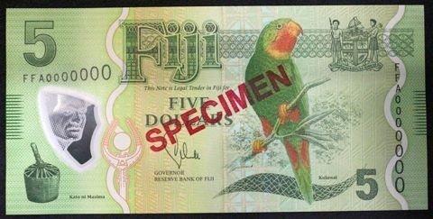 Fiji $5 bill showing Kulawai