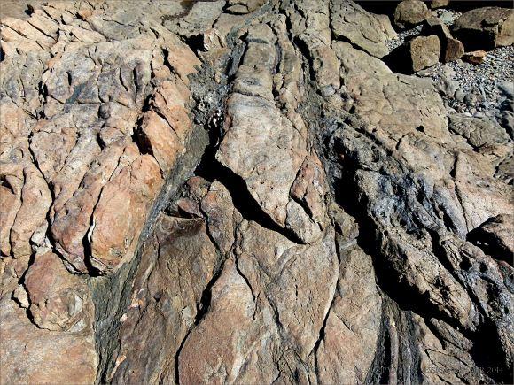 Narrow bands of dark rock running through a lighter rock near Four Mile Beach in Port Douglas