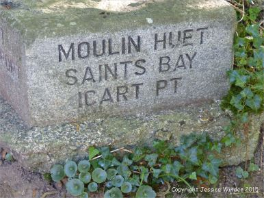 Granite footpath sign to Moulin Huet Bay