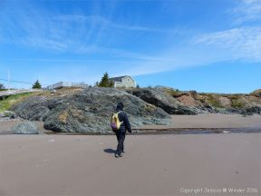 View of the basalt outcrop from the beach at Main a Dieu, on Cape Breton Island, Nova Scotia, Canada.
