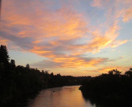 sunrise, morning, American River, Fair Oaks Bridge, ducks, fishermen, boats