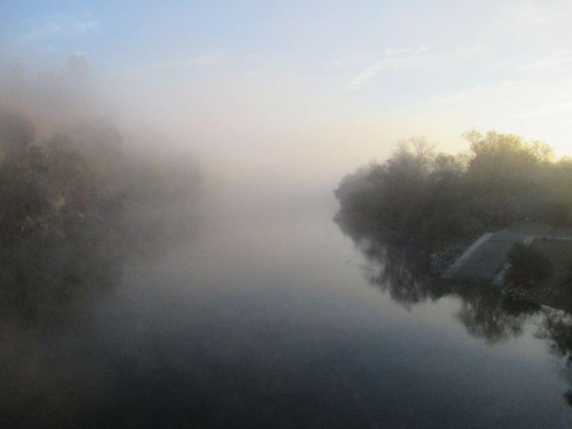 mist, foggy, fog, mornings, Fair Oaks Bridge, Fair Oaks, American River, walk, jog, trees, water