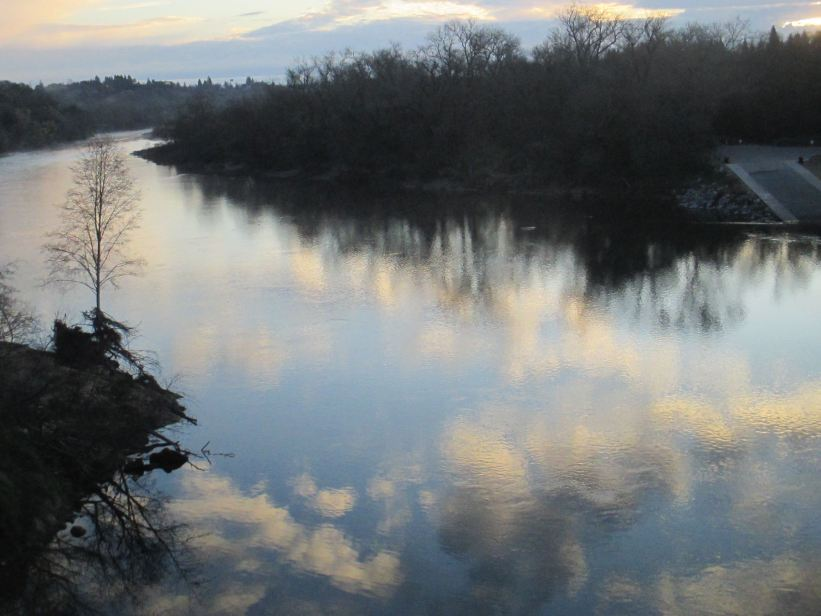 clouds, reflection. morning, Fair Oaks Bridge, American River, water, wildlife, writing, nature