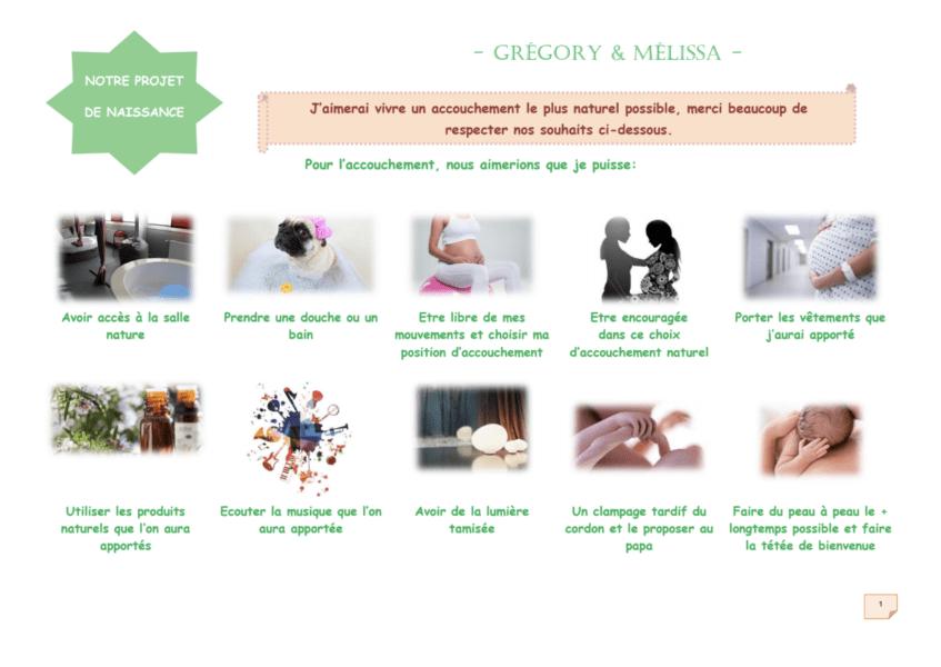 Exemple de projet de naissance visuel créé pour un accouchement à la maternité.