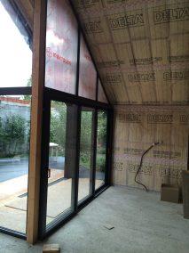 Extension ossature bois. isolation et film pare vapeur