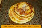 Sweet Potato Pancakes with Goat Cheese and Coconut