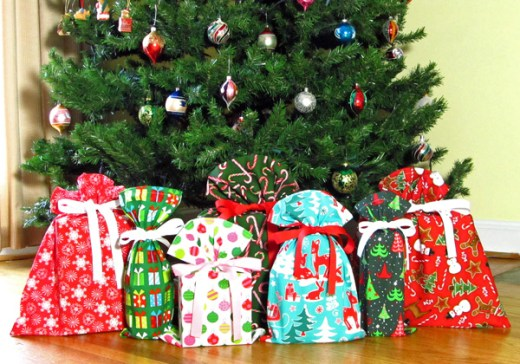 fabric gift bags under tree