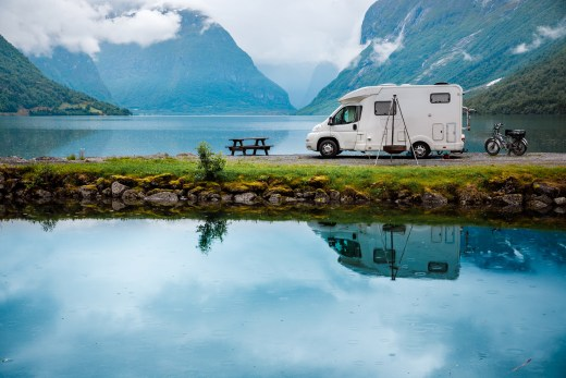 Family vacation travel RV, holiday trip in motorhome, Caravan car Vacation