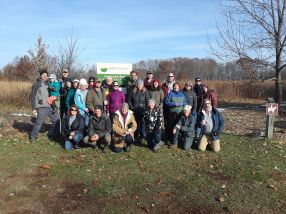 Volunteers after seeding a new section of prairie at Saul Lake Bog Nature Preserve