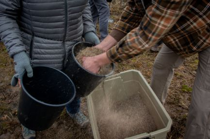 Filling seed buckets at the Black Friday prairie planting at Saul Lake Bog.