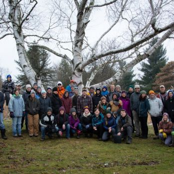 The crew of volunteers who seeded 25 acres of prairie at The Highlands.