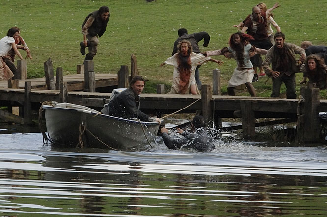 Robert Carlyle is attacked by scary zombies in a country park