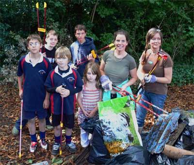 Volunteers clearing litter