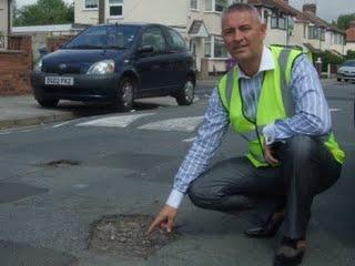 Councillor Phil Moffatt investigates the pothole crisis at Fieldton Road