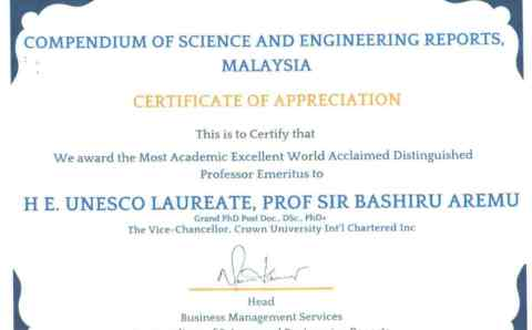 Global Recognition: Compendium of Science and Engineering Reports (CSER), Malaysia bestowed another award to UNESCO Laureate