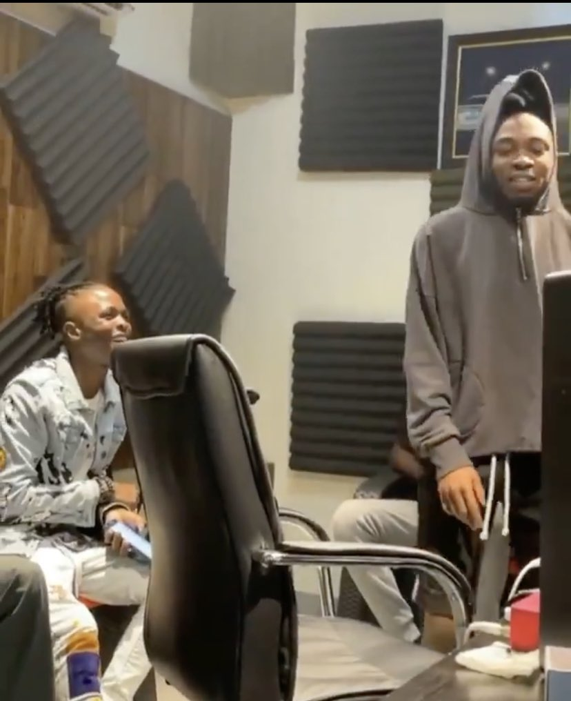 Laycon, Mayorkun Spotted Working Together In The Studio