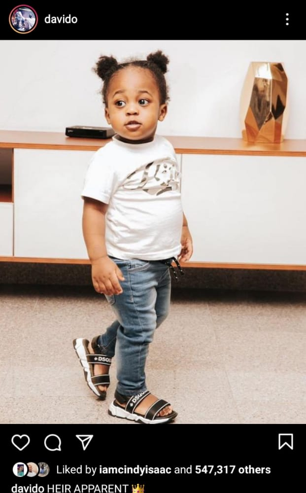 Davido declares his son Ifeanyi as his 'heir apparent'