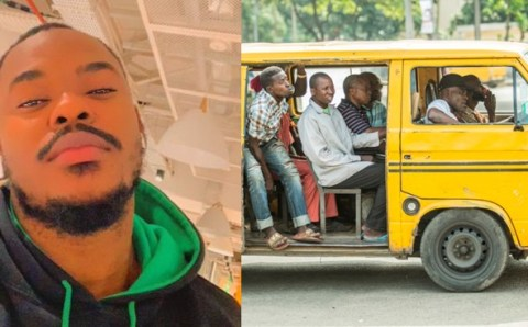 A Nigerian lady sexually harasses a handsome guy in a bus