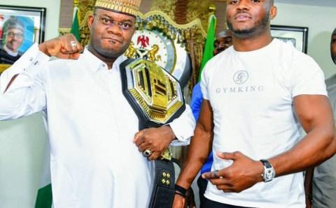 The Nigerian UFC Champion, meets Kogi State Governor.(photos)