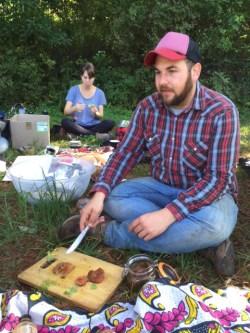 Justin serves sweet pickled pine rings