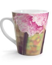 nature photo print pink peony photo latte mug nature photo gift pro